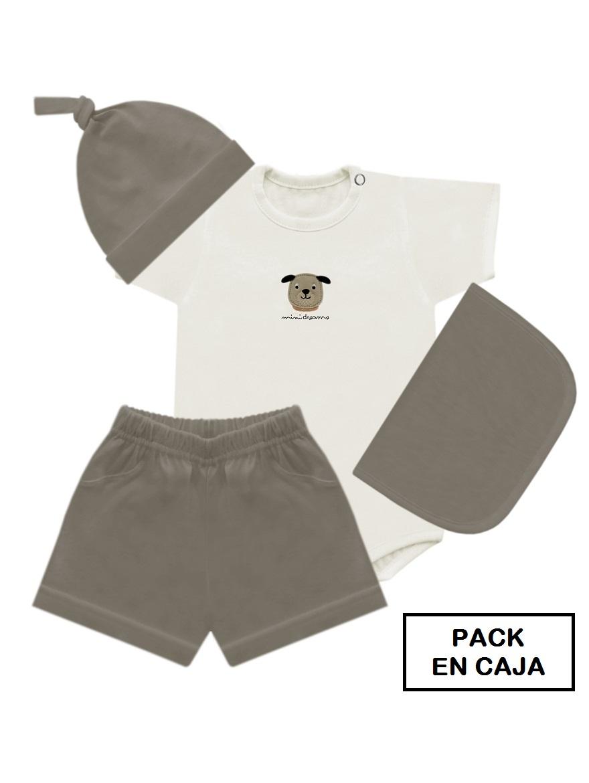 PACK ART.629 T.0/1 4PIEZAS BODY INT CON ESTAMPA, PANTALON, GORRO y BAB Talles: 0/1