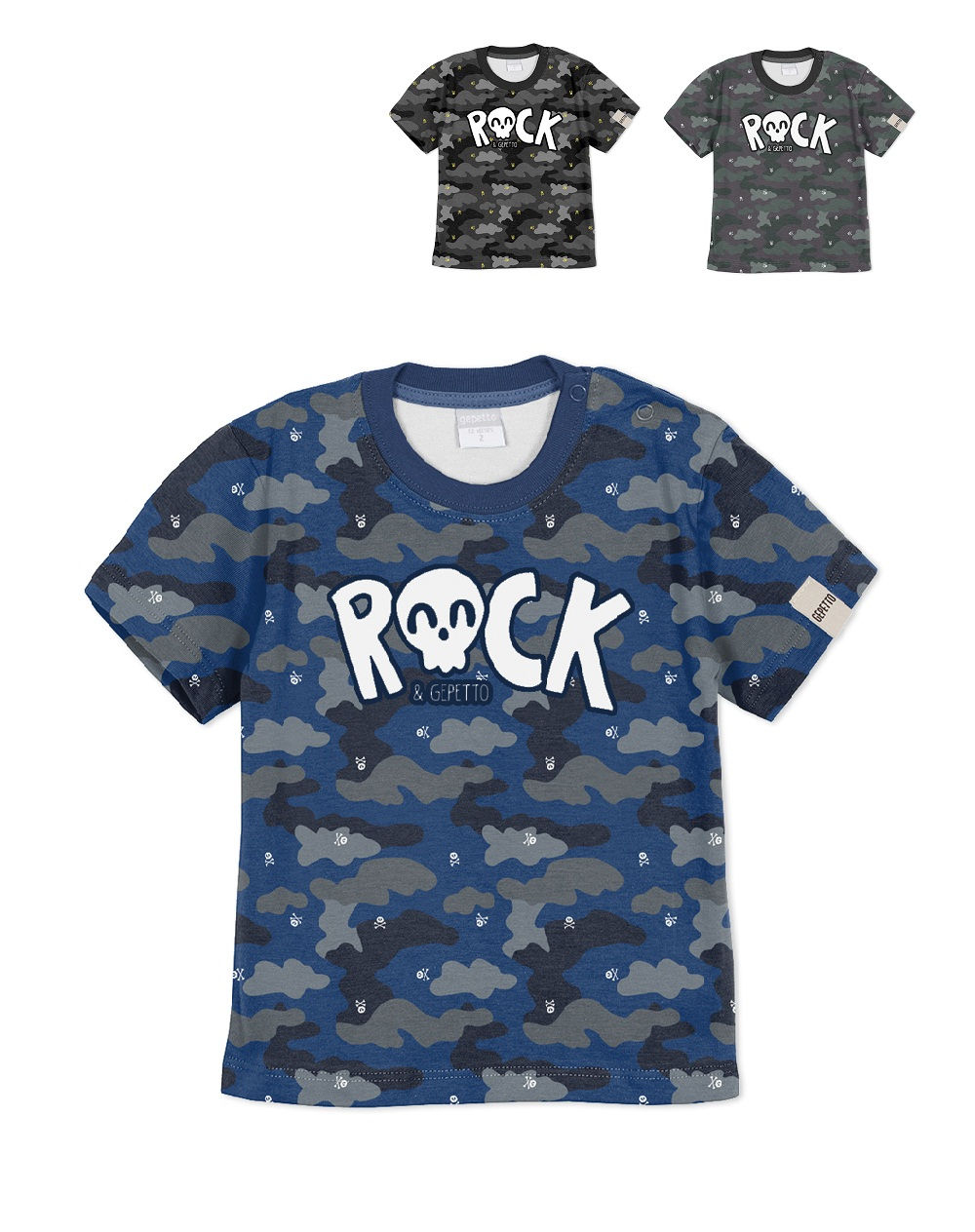 REMERA ART.183311 T.18/24/48M BEBE ESTAMPA, ROCK Talles: 18M A 48