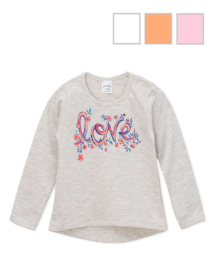 REMERA ART.1827 T. 18/24/36M BEBA Y ESTAMPA LOVE Talles: 18/24/36