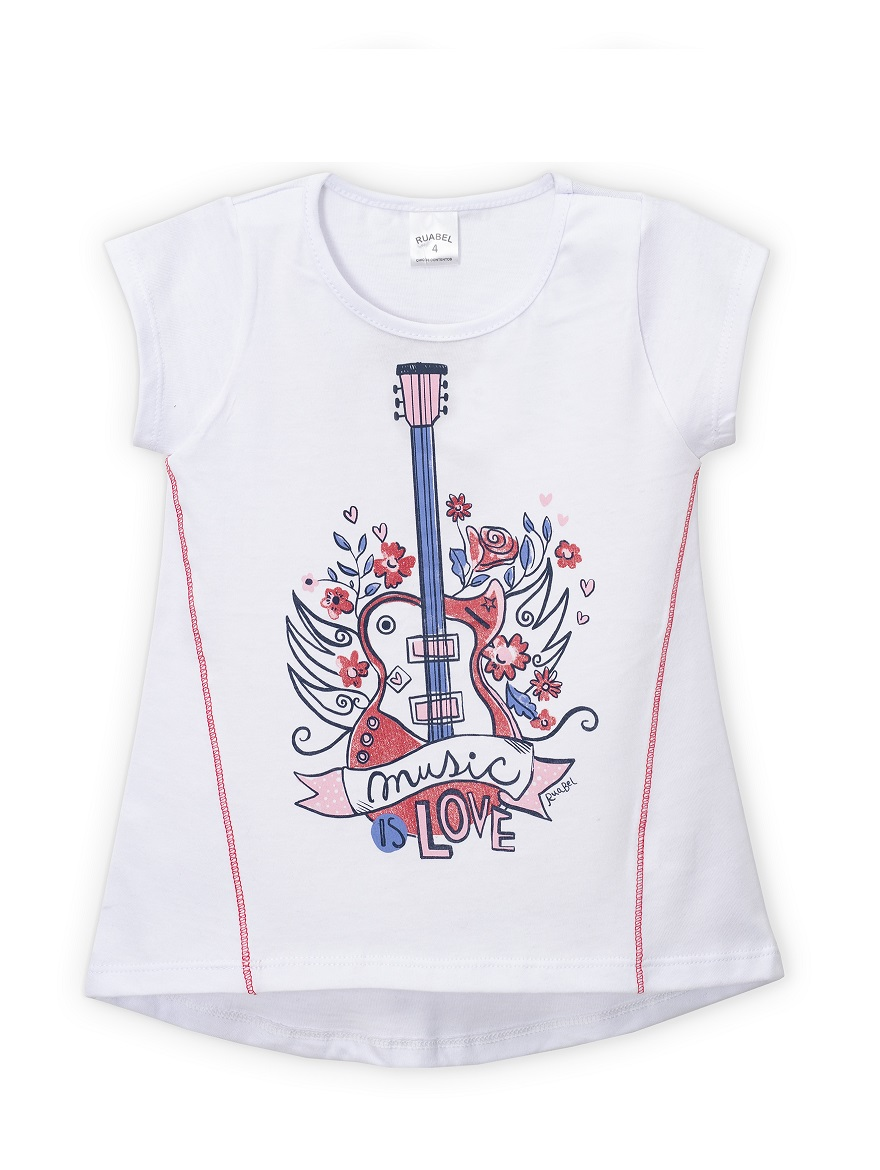 REMERA ART.2302 T.2  NENA ESTAMPADA CON BORDADO Y BRILLO Talles: 2