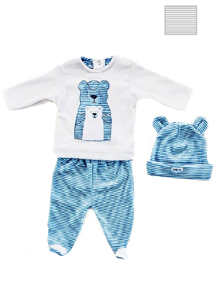 PACK ART.65 T. 0/2 BEBE REMERA Y MEDIO OSITO PLUSH RAYADO CON BORDADO Talles: 0/2
