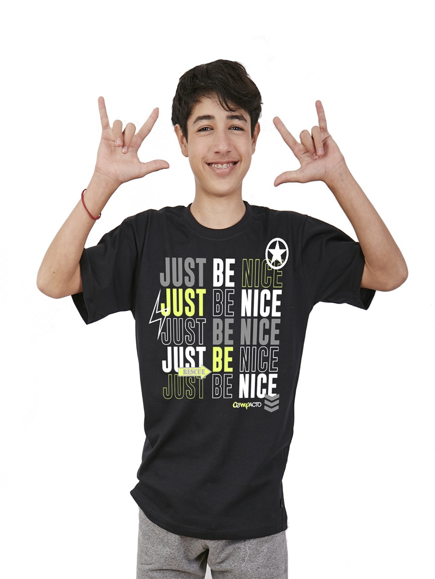 REMERA ART.2002 T.4/6/8/10/12/14 VARON JUST BE NICE Talles: 4 A 14