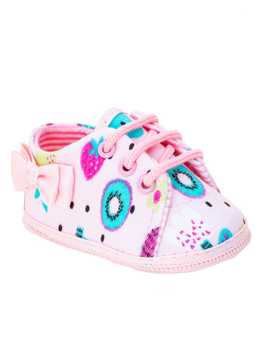 ZAPATILLA ART.2034 T.15 PLUSH ROSA BEBE MOÑO DOBLE Talles: 15