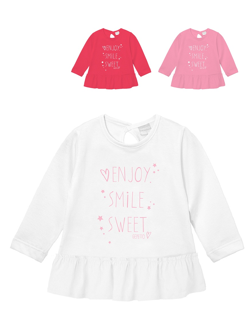 REMERA ART.191311 T.12/18/24/36/48M BEBA ENJOY SMILE SWEET Talles: 12M A 48