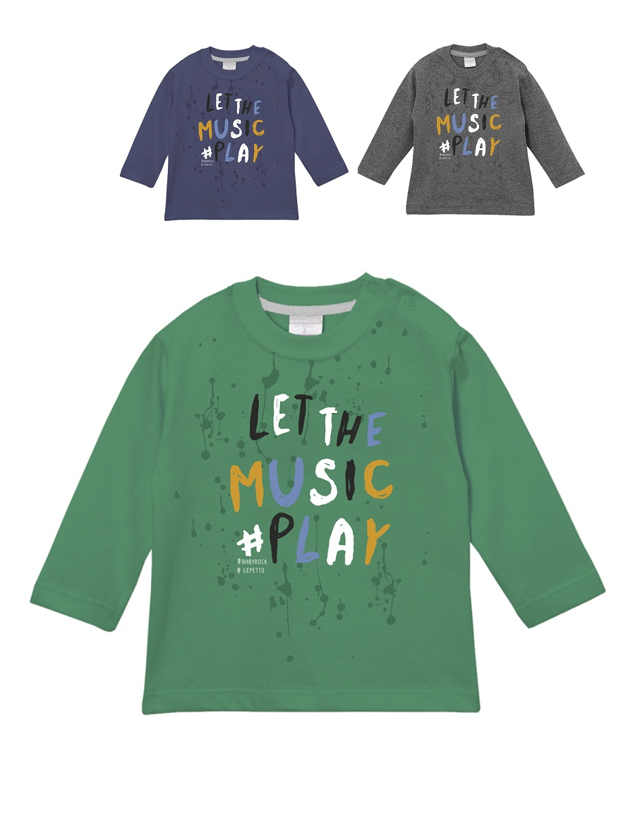 REMERA ART.193303 T.12/18/24/36/48M BEBE ESTAMPA LET THE MUSIC PLAY Talles: 12 A 48M
