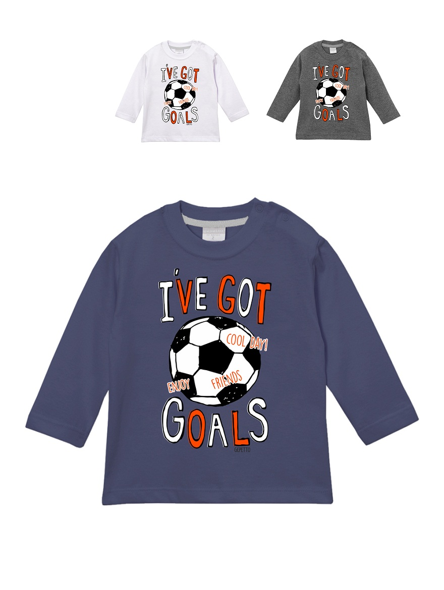 REMERA ART.193310 T.12/18/24/36/48M BEBE CON ESTAMPA I´VE GOT GOALS Talles: 12 A 48M