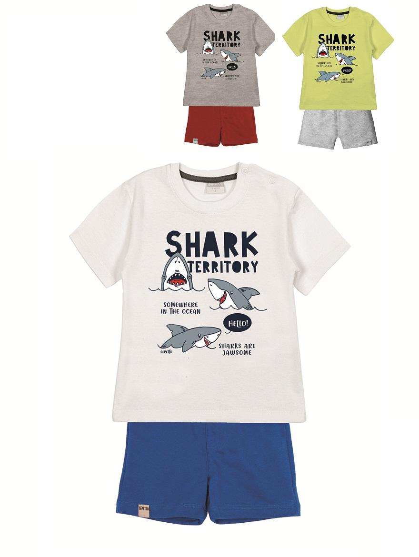 CONJUNTO ART.203341 T.18/24/36M BEBE ESTAMPA SHARK TERRITORY Talles: 18 A 36M