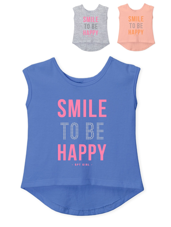 REMERA ART.205317 T.4/6/10/12 NENA S/M EST, SMILE TOBE HAPPY Y TACHAS Talles: 4 A 12