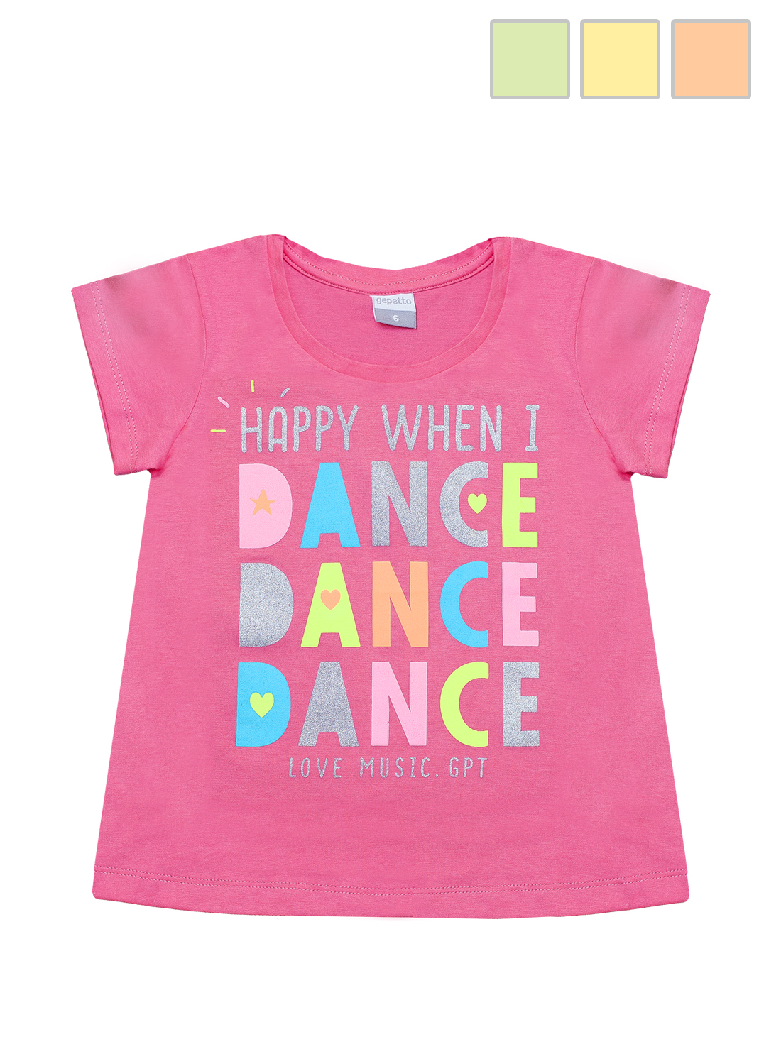 REMERA ART.125305 T.4/6/8/10/12/16 NENA C/ESTAMPA FLUO DANCE Talles: 4 A 16