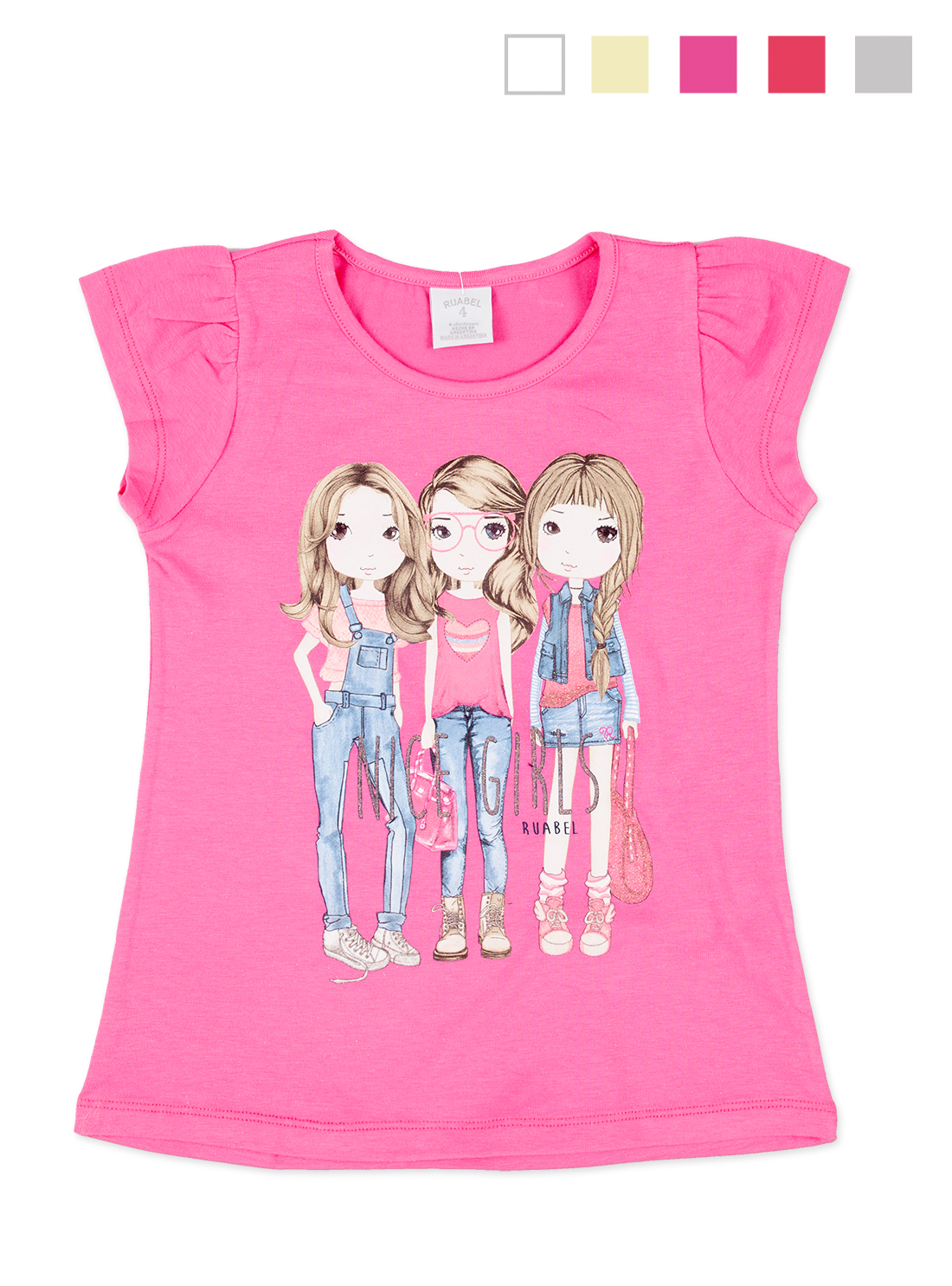REMERA ART.509 T.4/6/8/12 NENA CON ESTAMPA AMIGAS FASHION Talles: 4 A 12