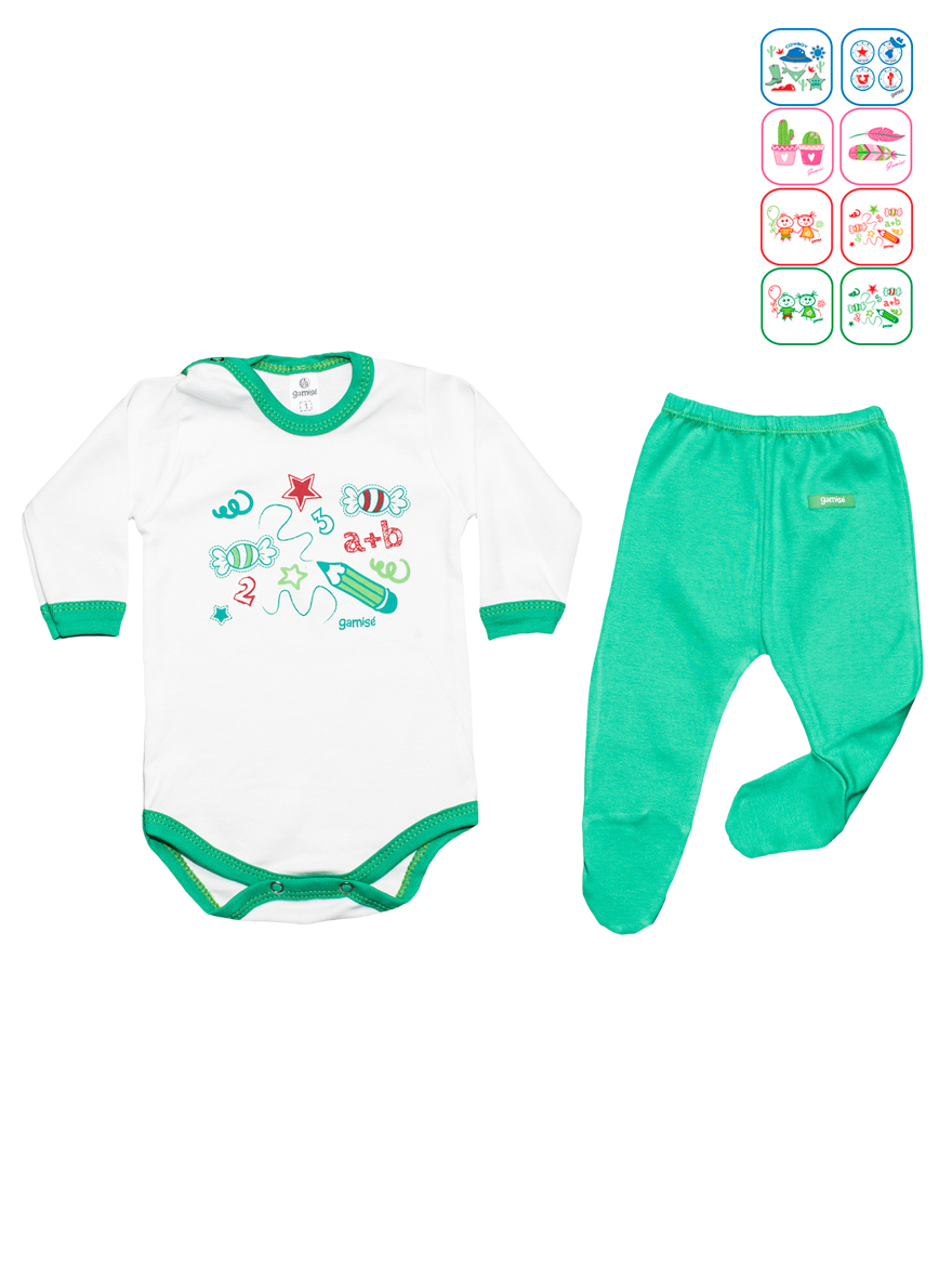 PACK ART.8740 T.0/1/2/3/4 BODY M/L C/ESTAMPA Y 1/2 OSITO Talles: 0 A 4