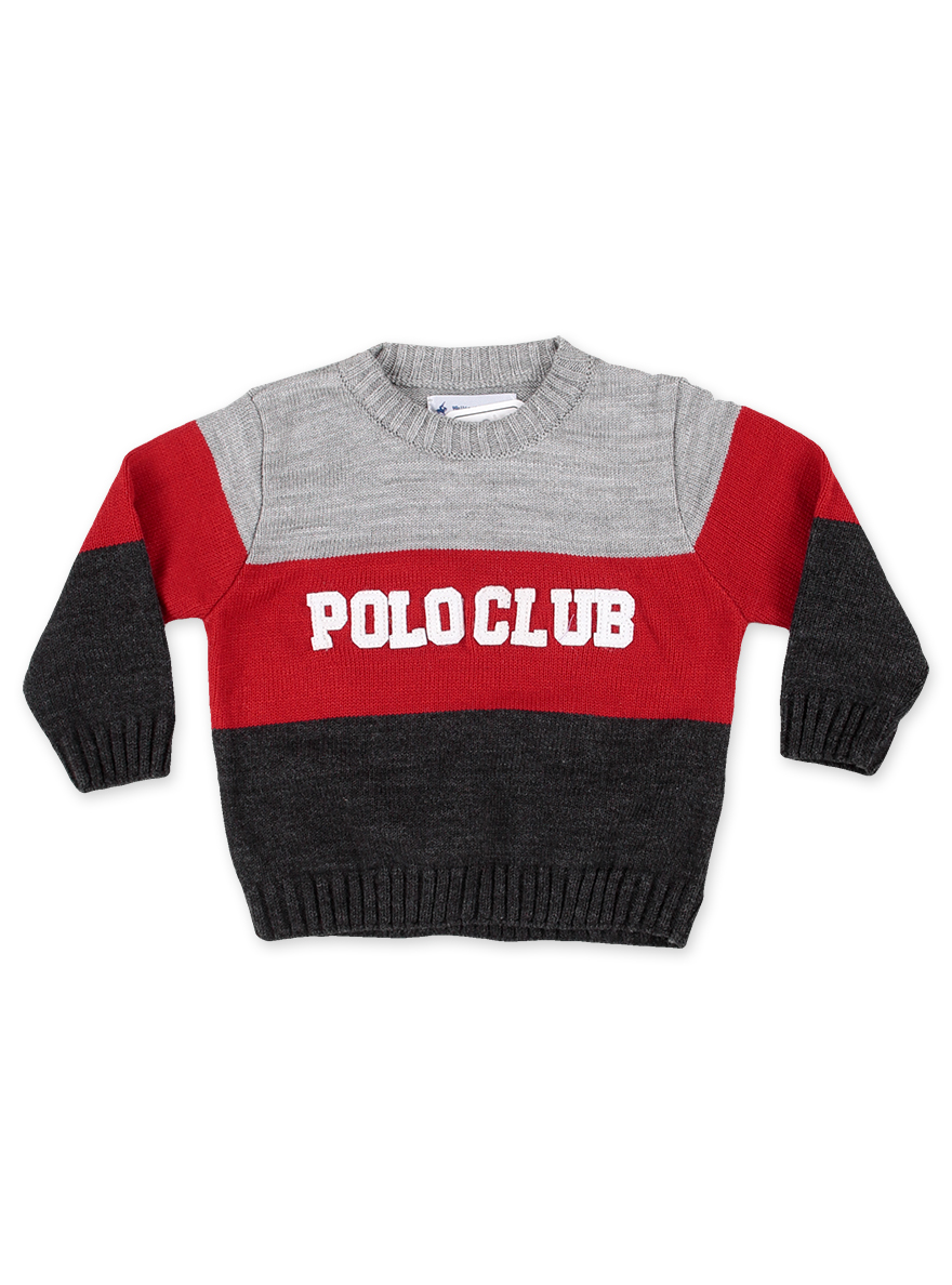 SWEATER ART.17109 T.12-18/36-48RED. 3 RAYAS BORD POLO CLUB Talles: 18 A 48m