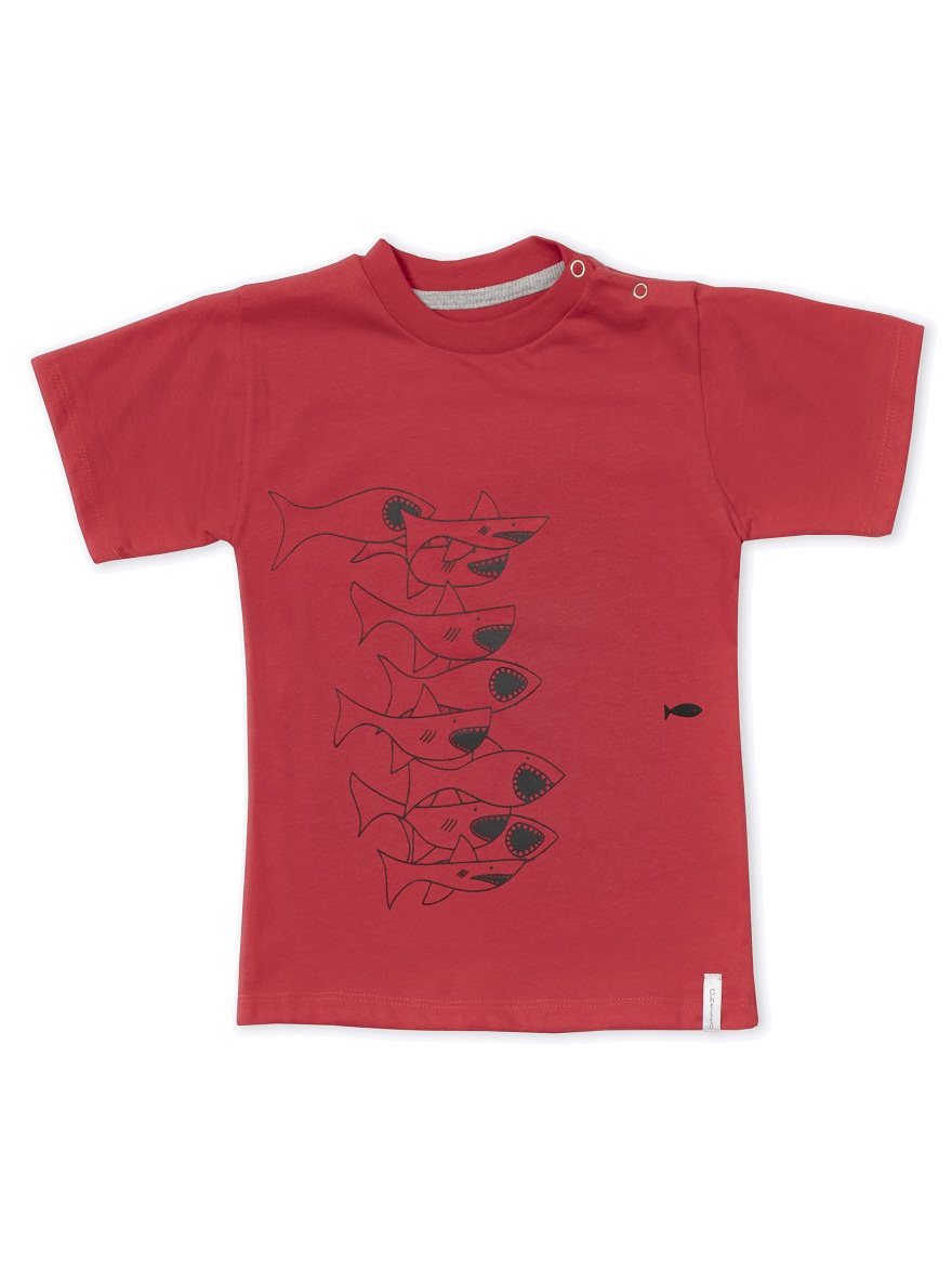 REMERA ART.6607 T.12/18/24/36 COLOR BEBE CON ESTAMPA TIBURONES LATERAL Talles: 12 A 36