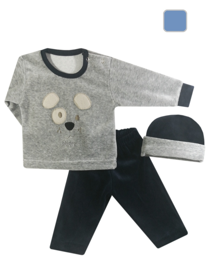 CONJUNTO ART.936 T. 0/1/2/3 PLUSH BEBE BORDADO CENTRAL C/GORRO Talles: 0/1/2/3