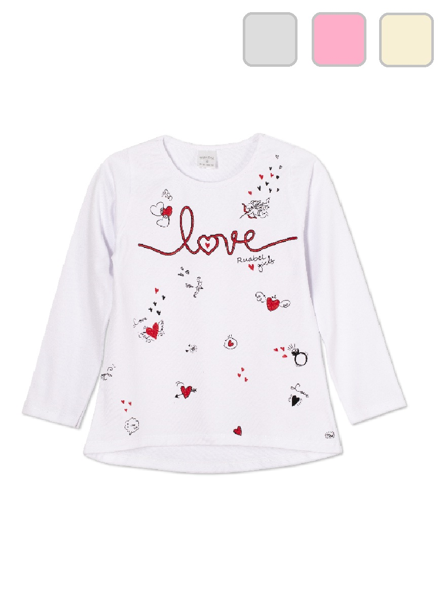 REMERA ART.1301 T. 4/6/8/10/12 NENA ESTAMPA LOVE Y BRILLO Talles: 4 A 12