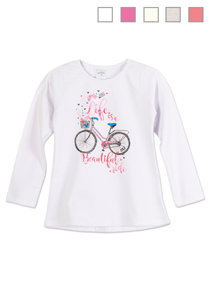 REMERA ART.1305 T. 12 NENA ESTAMPA BICICLETA C/BRILLO Talles: 12