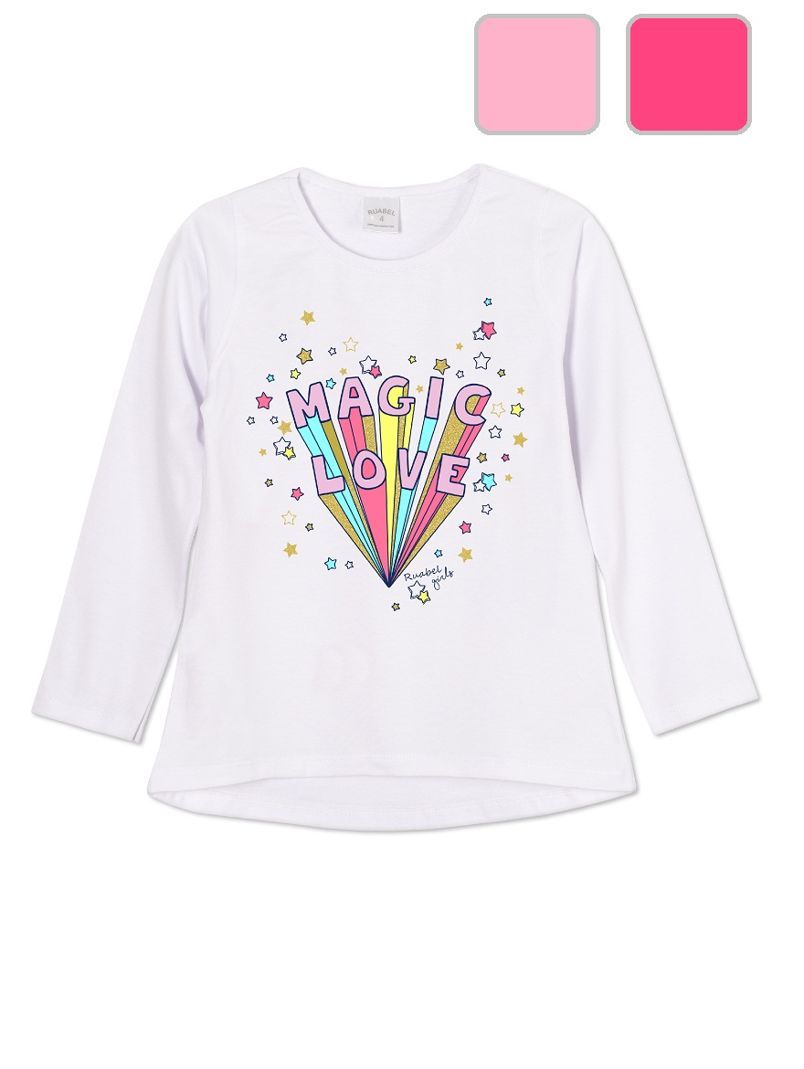 REMERA ART.1504 T. 4/6/8/10/12 NENA CON ESTAMPA FLUO Y BRILLO Talles: 4 A 12