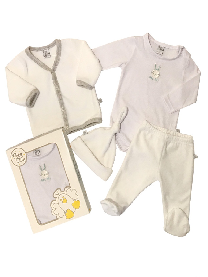 PACK ART.5968 T.0/1 4P PLUSH UNISEX CARDIGAN, BODY BORDADO, RANITA Y G Talles: 0/1