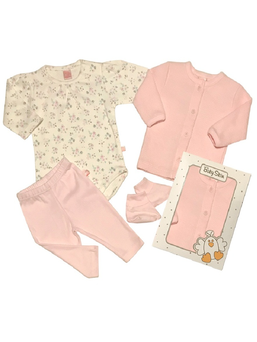 PACK ART.6030 T. 0/1/2/3 4PZ.BODY ESTAMPADO, CALCITA, CARDIGAN Y ESCAR Talles: 0/1/2/3