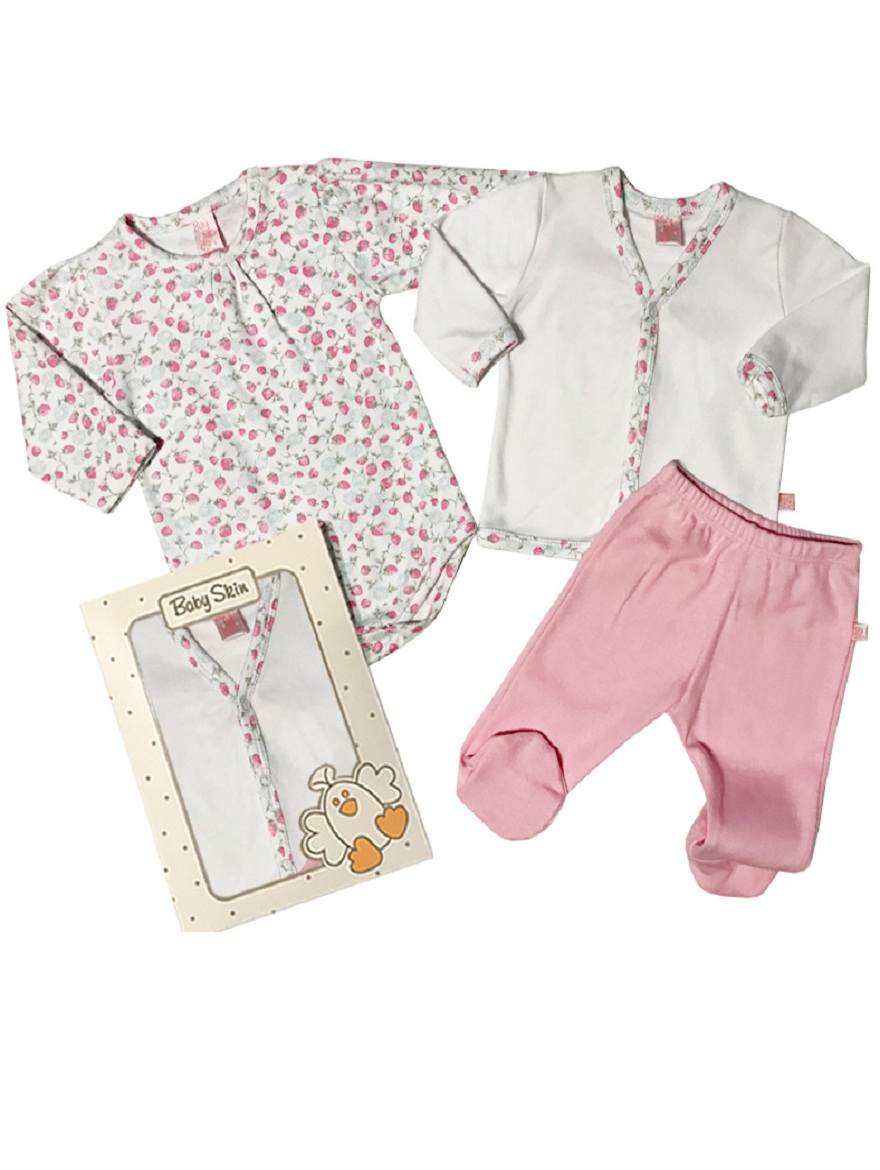 PACK ART.6052 T. 0 3PZ BEBA BODY ESTAMPADO, CARDIGAN Y RANITA Talles: 0