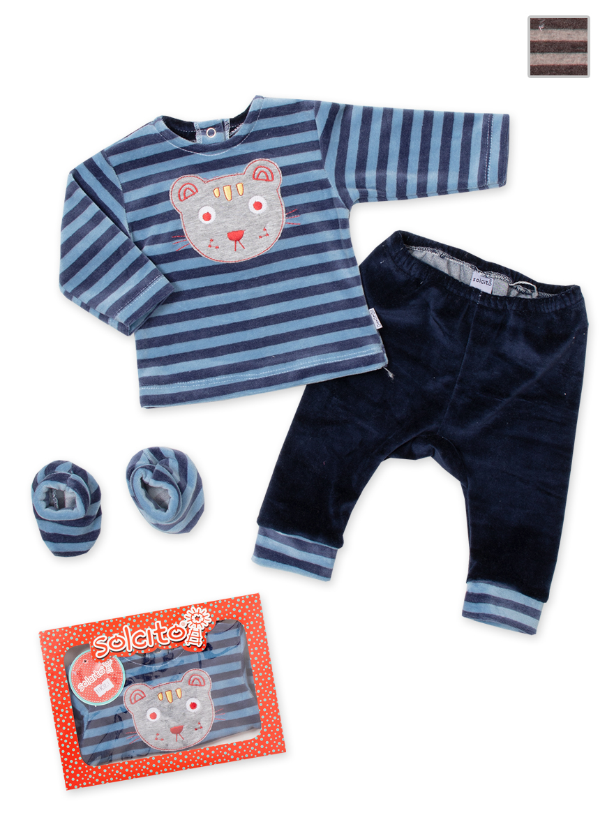 PACK ART.K32 T.0/1/2 BEBE PLUSH RAYADO BORDADO C/ZAPATITOS EN CAJA Talles: 0/1/2