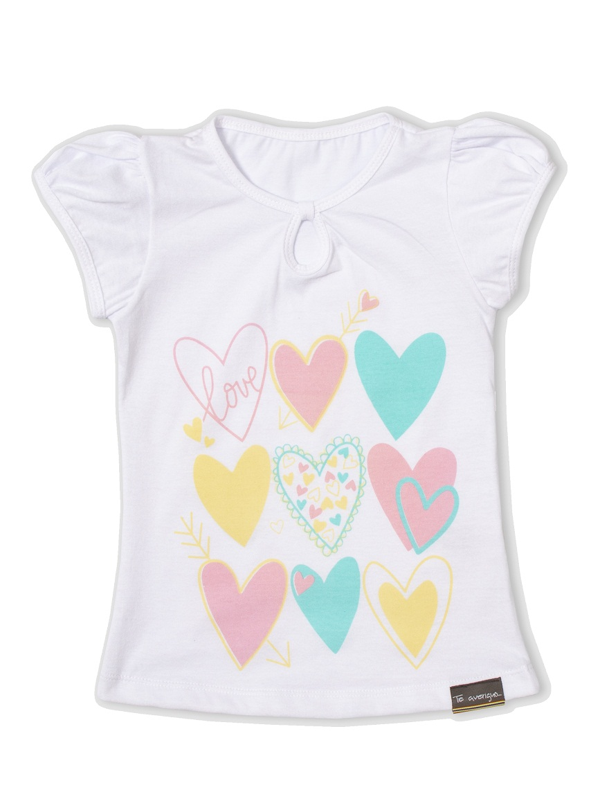REMERA ART.709 T.4/6/8/10  NENA COLOR CON ESTAMPA CORAZONES Talles: 4 A 10