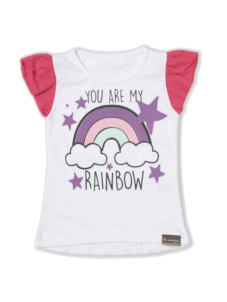 REMERA ART.711 T.4/6/8/10  NENA COLOR CON ESTAMPA ARCO IRIS Talles: 4 A 10